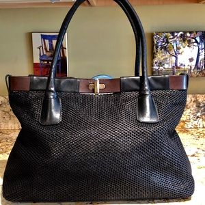Furla Black and Brown Leather Tote